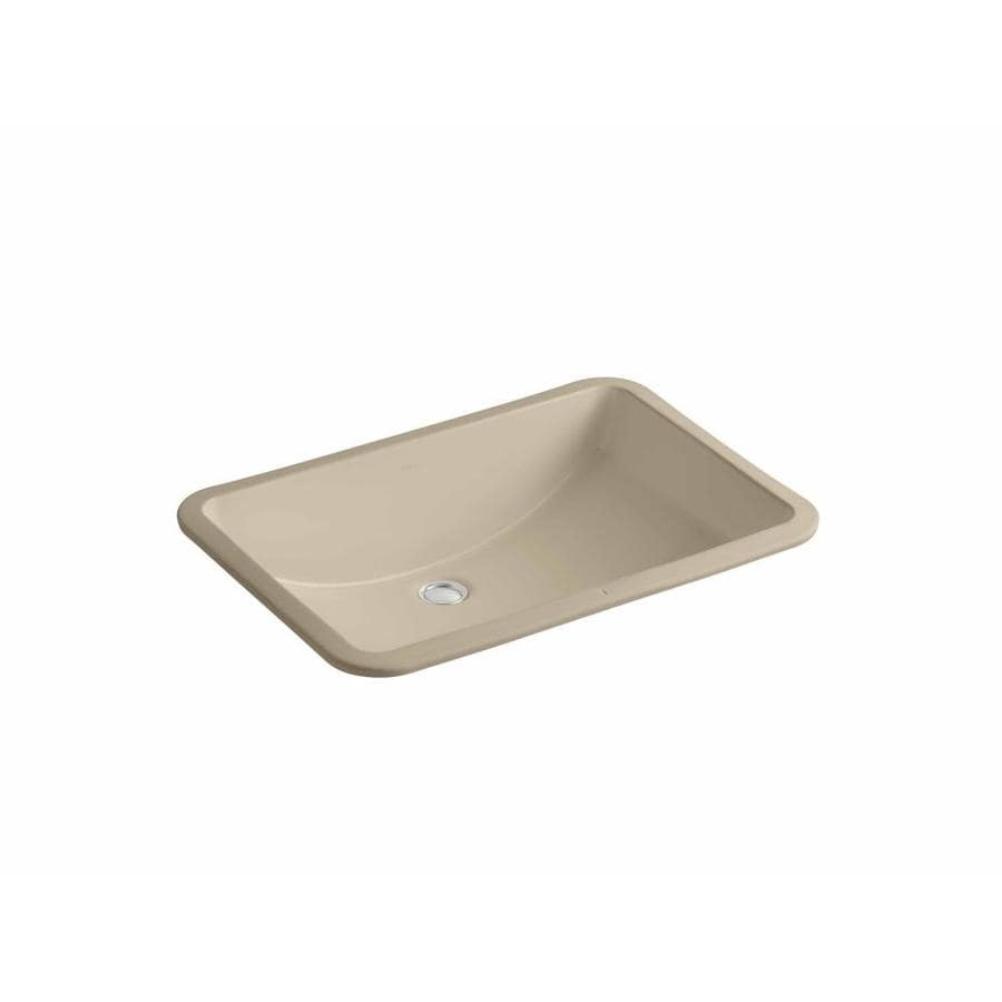 Shop kohler ladena mexican sand undermount rectangular for Bathroom undermount sinks