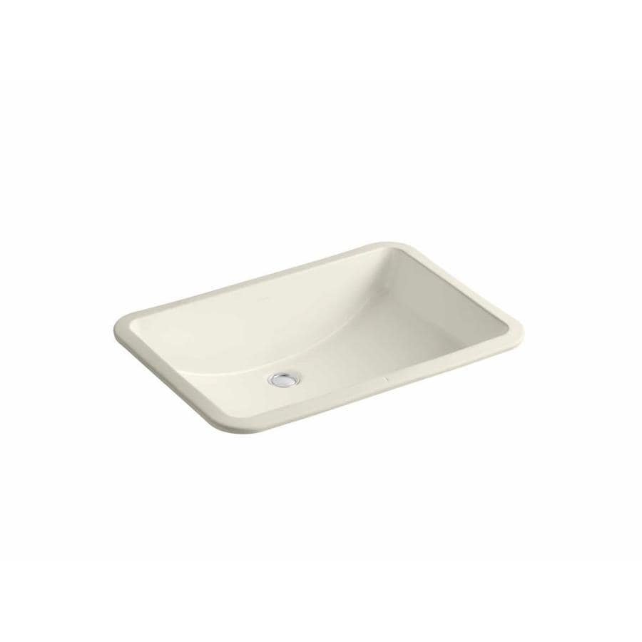 KOHLER Ladena Almond Undermount Rectangular Bathroom Sink with Overflow