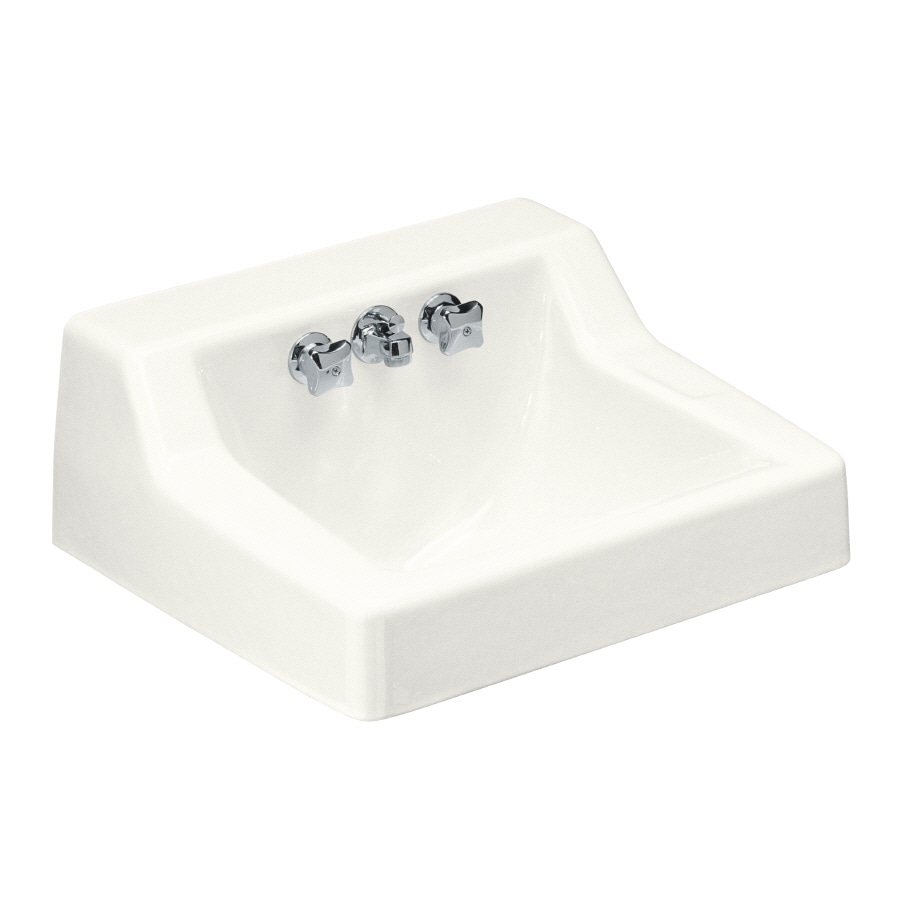 KOHLER Hampton White Cast Iron Wall-Mount Rectangular Bathroom Sink with Faucet and Overflow (Drain Included)