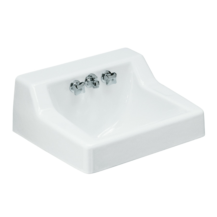 KOHLER Hampton White Cast Iron Wall-Mount Rectangular Bathroom Sink with Overflow