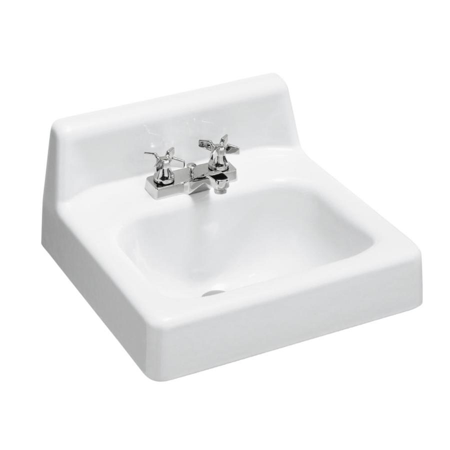 Shop kohler hudson white cast iron wall mount rectangular bathroom sink with overflow at Kohler cast iron bathroom sink