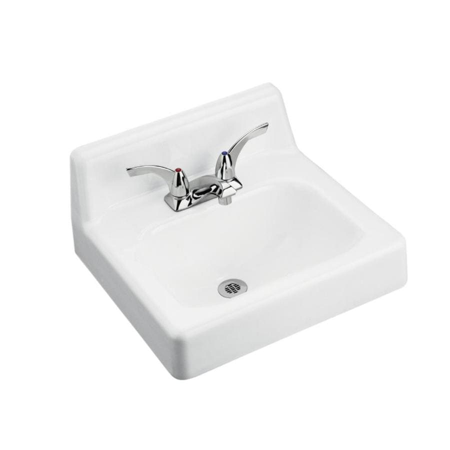 KOHLER Hudson White Cast Iron Wall-Mount Rectangular Bathroom Sink with Overflow