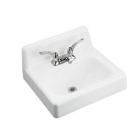 Kohler Hudson White Cast Iron Wall Mount Rectangular Bathroom Sink With Overflow Drain 19 In X 17 In In The Bathroom Sinks Department At Lowes Com