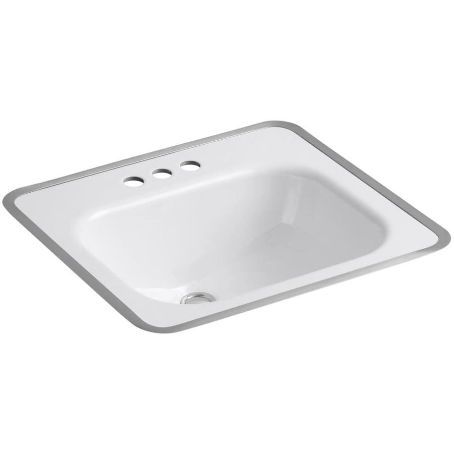 Shop Kohler Tahoe White Cast Iron Drop In Rectangular Bathroom Sink With Overflow At