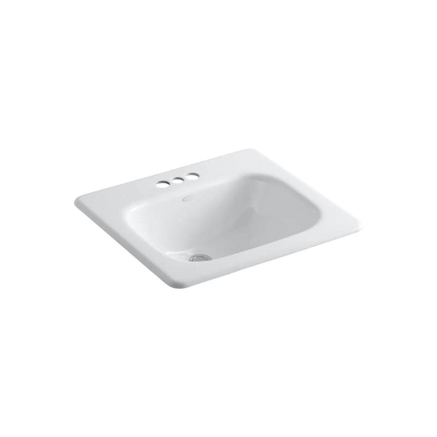 KOHLER Tahoe White Cast Iron Drop-in Rectangular Bathroom Sink with Overflow