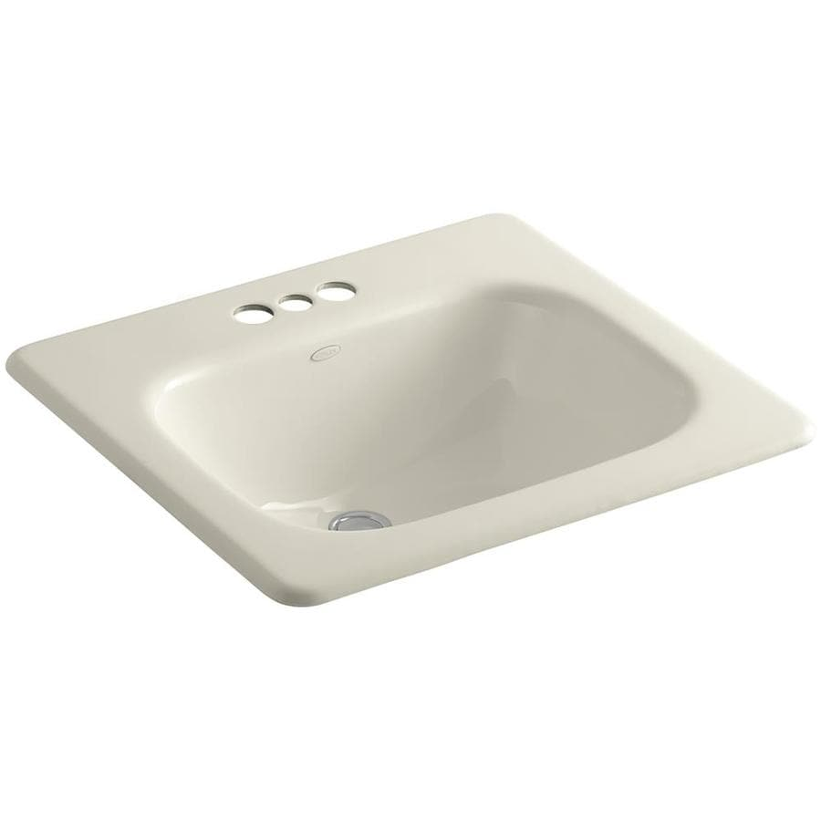 Shop Kohler Tahoe Almond Cast Iron Drop In Rectangular Bathroom Sink With Overflow At