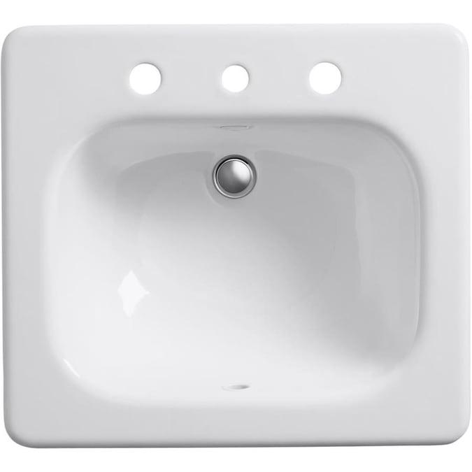Kohler Tahoe White Cast Iron Drop In Rectangular Bathroom Sink With Overflow Drain 21 In X 19