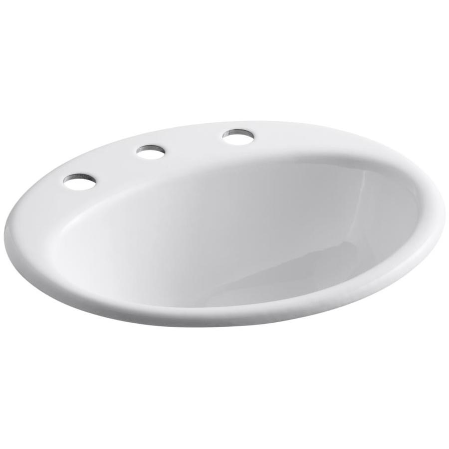 KOHLER Farmington White Cast Iron Drop-in Oval Bathroom Sink with Overflow