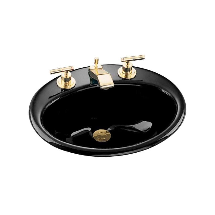 KOHLER Farmington Black Black Cast Iron Drop-in Oval Bathroom Sink with Overflow