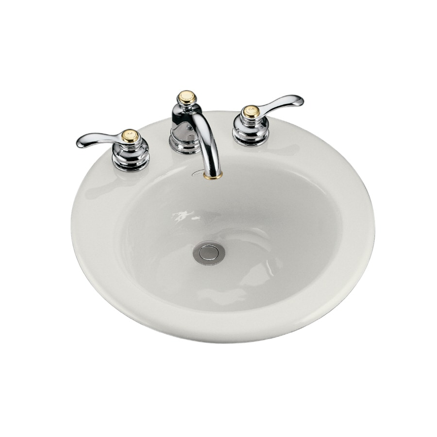 Shop kohler radiant white cast iron drop in round bathroom sink with overflow at Kohler cast iron bathroom sink
