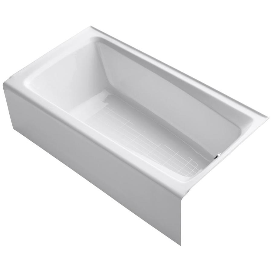 KOHLER Mendota White Cast Iron Rectangular Skirted Bathtub with Right-Hand Drain (Common: 32-in x 60-in; Actual: 16.25-in x 32-in x 60-in)