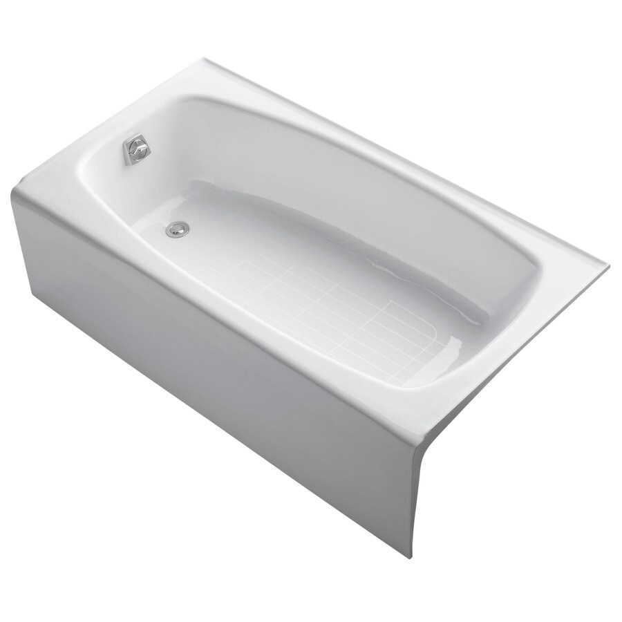 KOHLER Dynametric White Cast Iron Rectangular Skirted Bathtub with Left-Hand Drain (Common: 32-in x 60-in; Actual: 16.25-in x 32-in x 60-in)