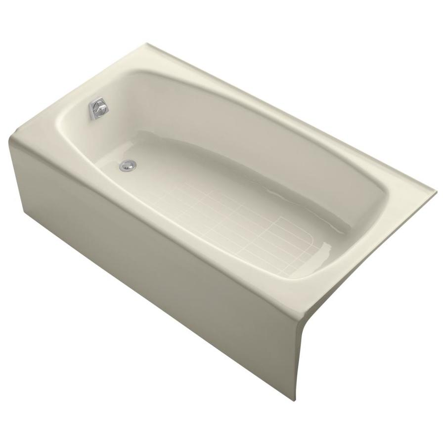 KOHLER Dynametric Almond Cast Iron Rectangular Skirted Bathtub with Left-Hand Drain (Common: 32-in x 60-in; Actual: 16.25-in x 32-in x 60-in)