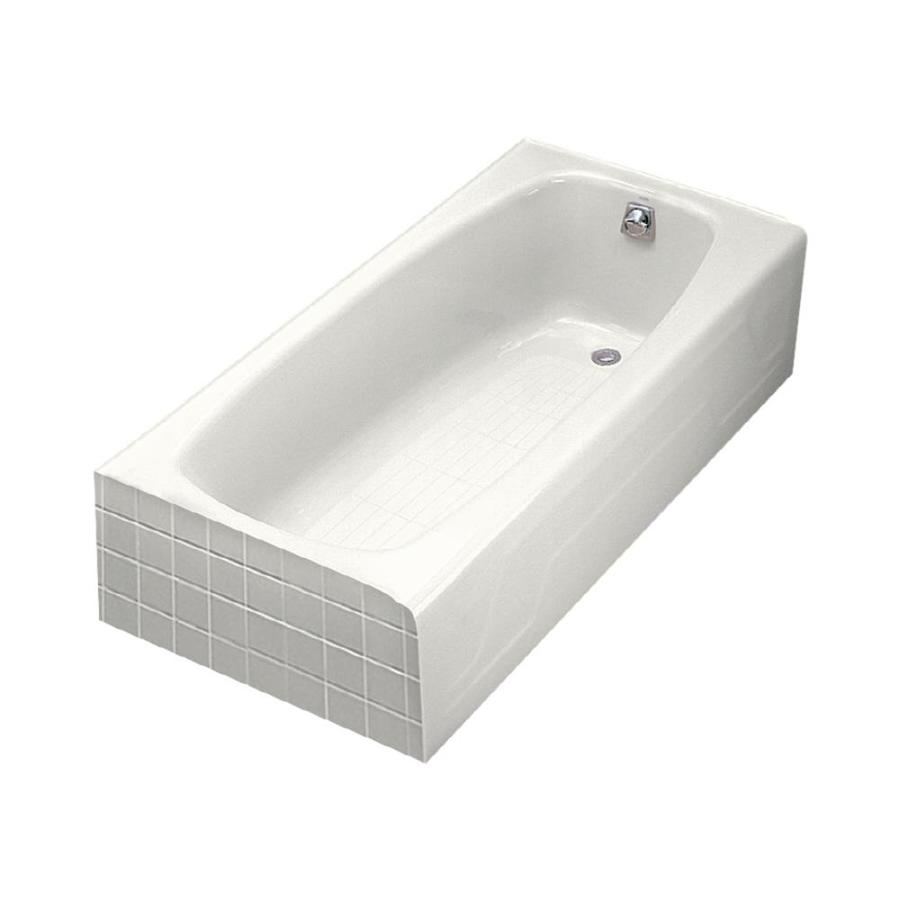 kohler dynametric white cast iron rectangular skirted bathtub with