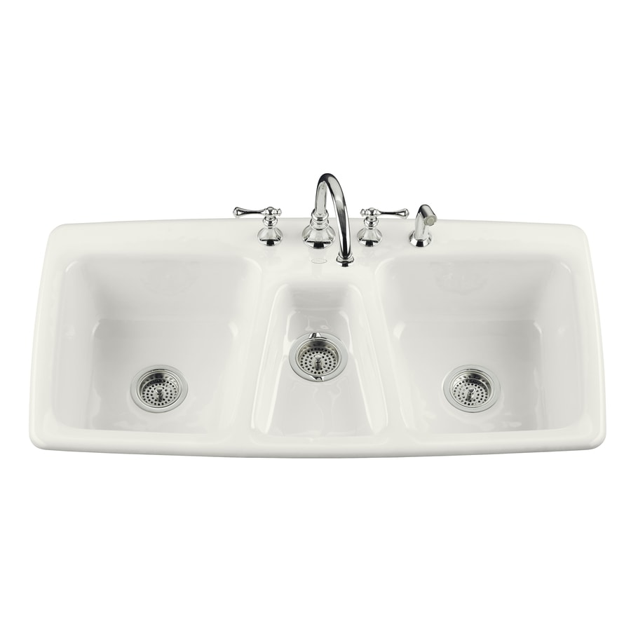 Shop KOHLER Trieste Triple-Basin Drop-in Enameled Cast Iron ...