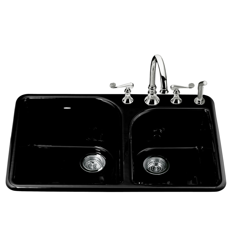 KOHLER Executive Chef 22.0000-in x 33.0000-in Black Double-Basin Cast Iron Drop-in 4-Hole Residential Kitchen Sink