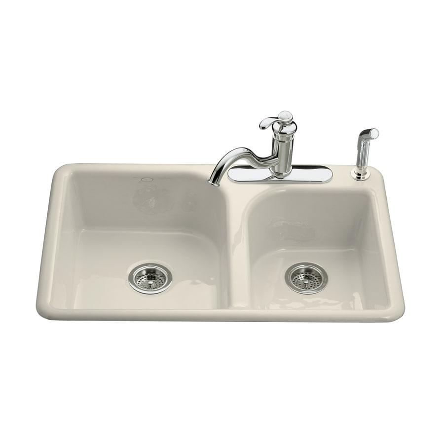 KOHLER Efficiency 22-in x 33-in Almond Double-Basin Cast Iron Drop-in 4-Hole Residential Kitchen Sink