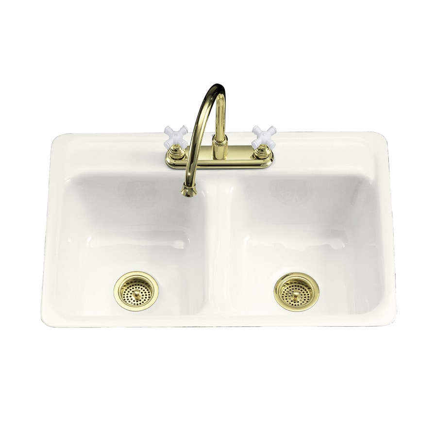 KOHLER Delafield 21-in x 32-in White Double-Basin Cast Iron Tile-in 4-Hole Residential Kitchen Sink