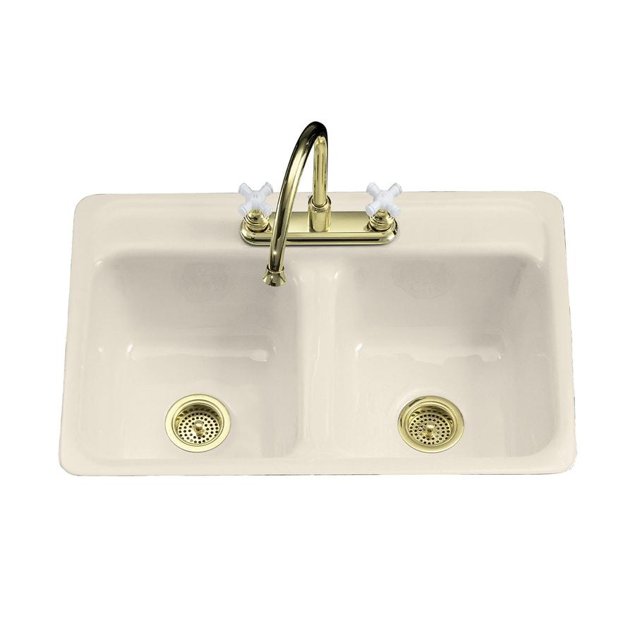 Kohler Double Bathroom Sink: Shop KOHLER Delafield 21-in X 32-in Almond Double-Basin