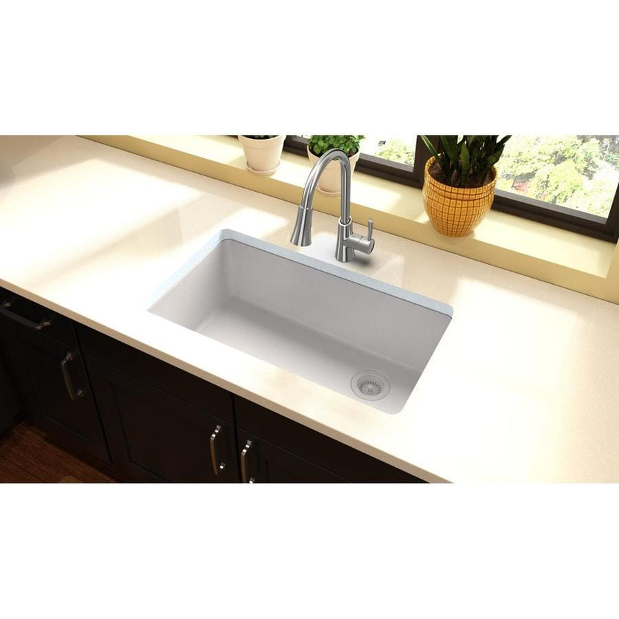 ... Black Single-Basin Cast Iron Drop-in 4-Hole Residential Kitchen Sink