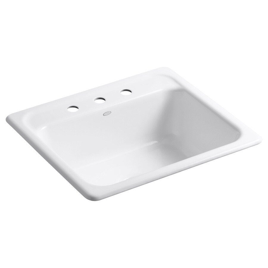 KOHLER Mayfield 22-in x 25-in White Single-Basin Cast Iron Drop-in 3-Hole Residential Kitchen Sink