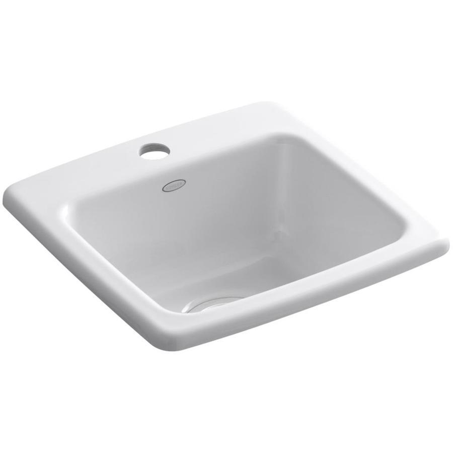 KOHLER Gimlet White 1-Hole Acrylic Drop-in Commercial/Residential Bar Sink