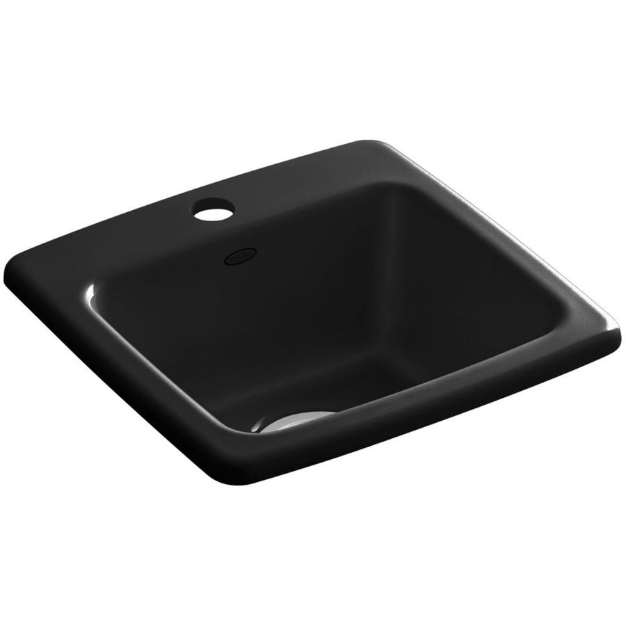 KOHLER Gimlet Black 1-Hole Acrylic Drop-in Commercial/Residential Bar Sink