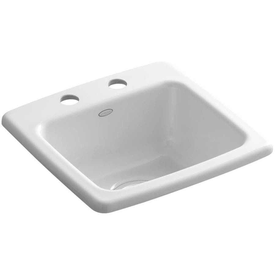 KOHLER Gimlet White 1-Hole Acrylic Drop-in Commercial/Residential Bar Sink