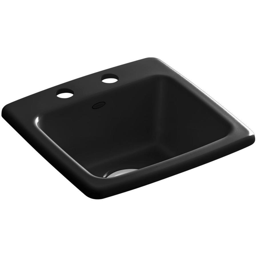 KOHLER Gimlet Black Black 1-Hole Acrylic Drop-in Commercial/Residential Bar Sink
