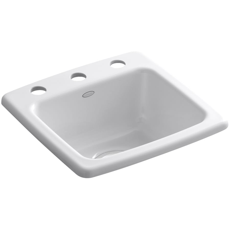 KOHLER Gimlet White 1-Hole Cast Iron Drop-in Commercial/Residential Bar Sink