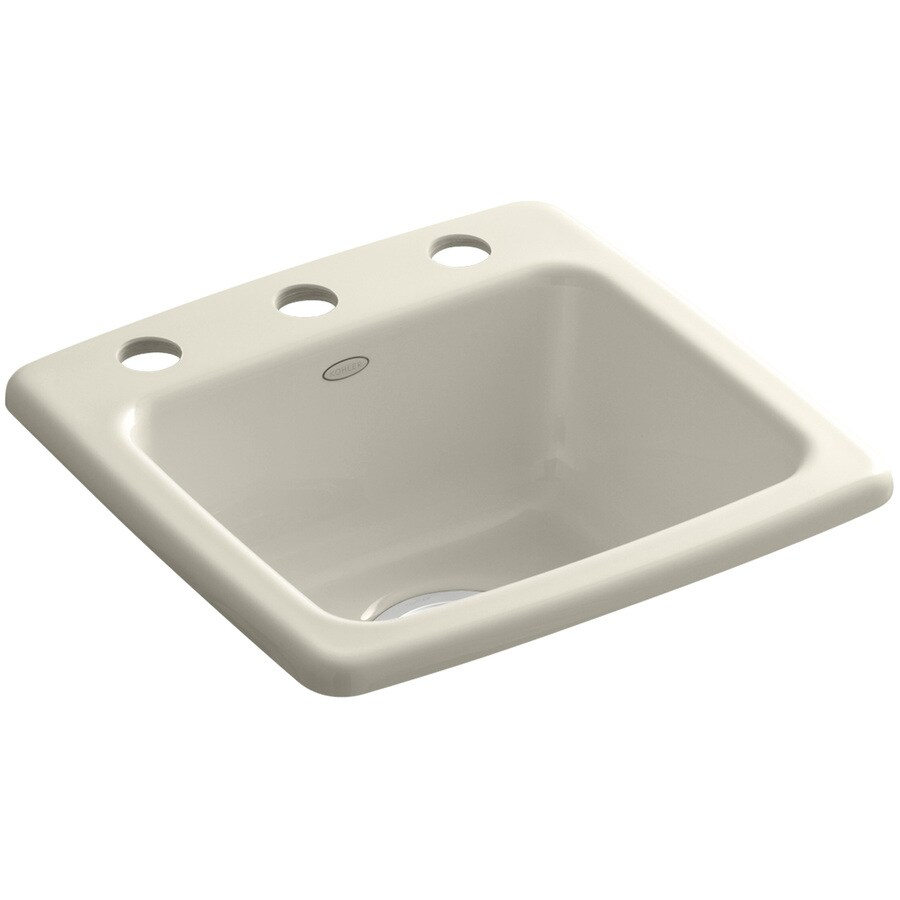KOHLER Gimlet Almond 1-Hole Cast Iron Drop-in Commercial/Residential Bar Sink