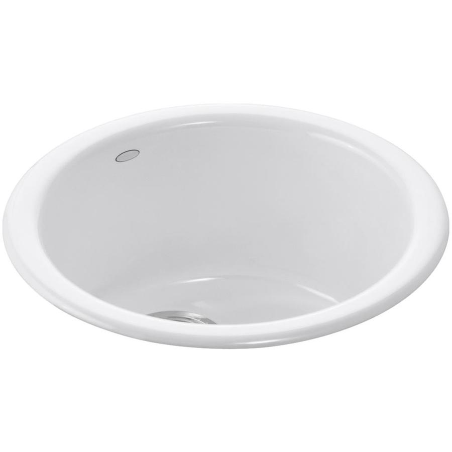 KOHLER Porto Fino White 1-Hole Cast Iron Drop-in or Undermount Commercial/Residential Bar Sink