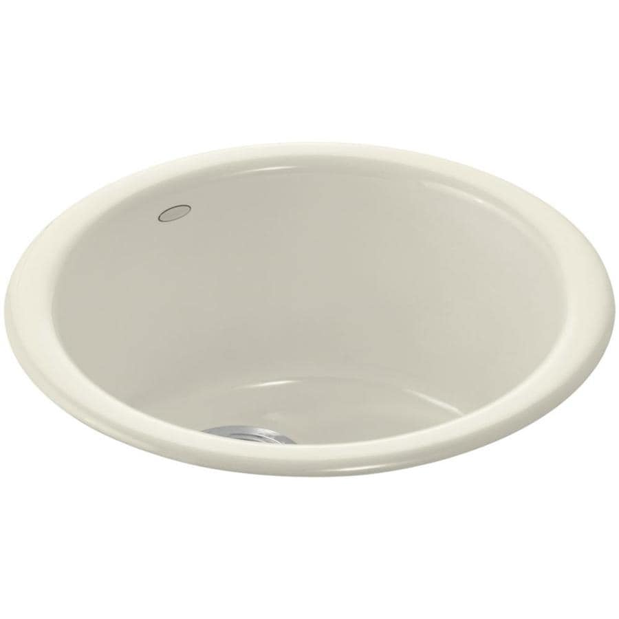 KOHLER Porto Fino Almond 1-Hole Cast Iron Drop-in or Undermount Commercial/Residential Bar Sink