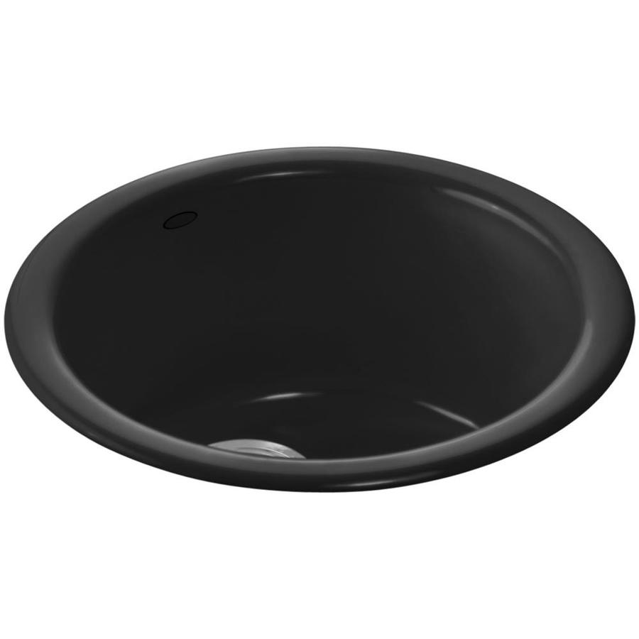 KOHLER Porto Fino Black Black 1-Hole Cast Iron Drop-in or Undermount Commercial/Residential Bar Sink