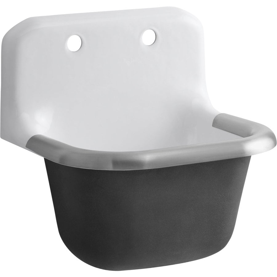 ... 14-in x 18-in White Wall Mount Cast Iron Laundry Sink at Lowes.com