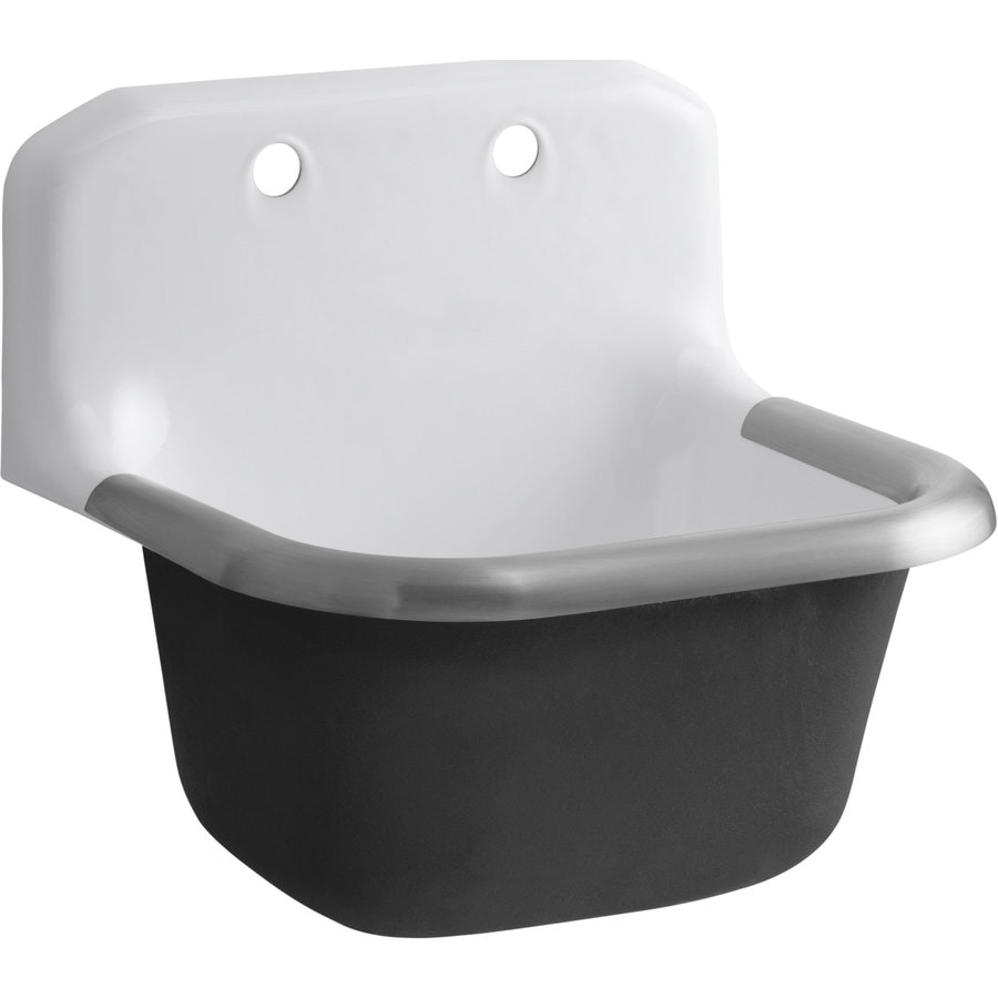 KOHLER 16 In X 20 In White Wall Mount Cast Iron Laundry Sink