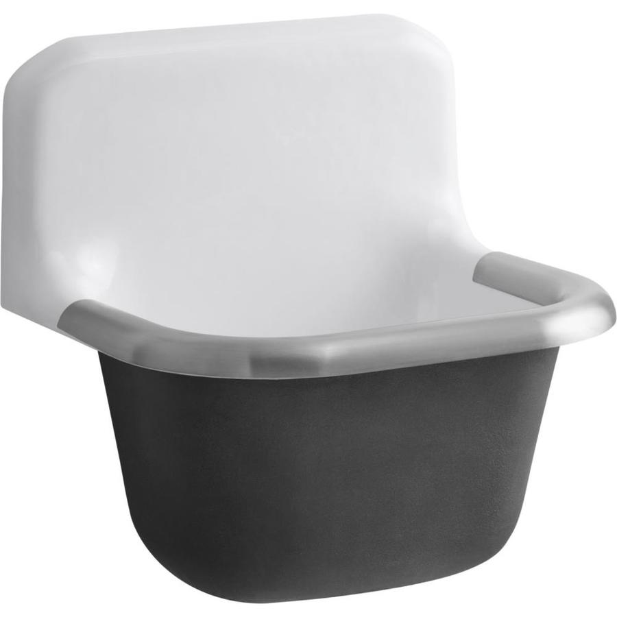KOHLER 14-in x 18-in 1-Basin White Wall Mount Cast Iron Laundry Sink Utility Sink