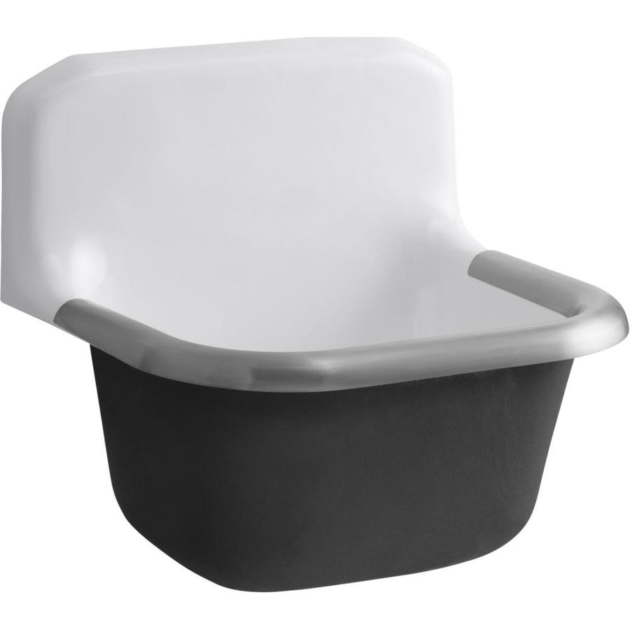 KOHLER 16.0000-in x 20.0000-in Single-Basin White Wall Mount Cast Iron Laundry Sink