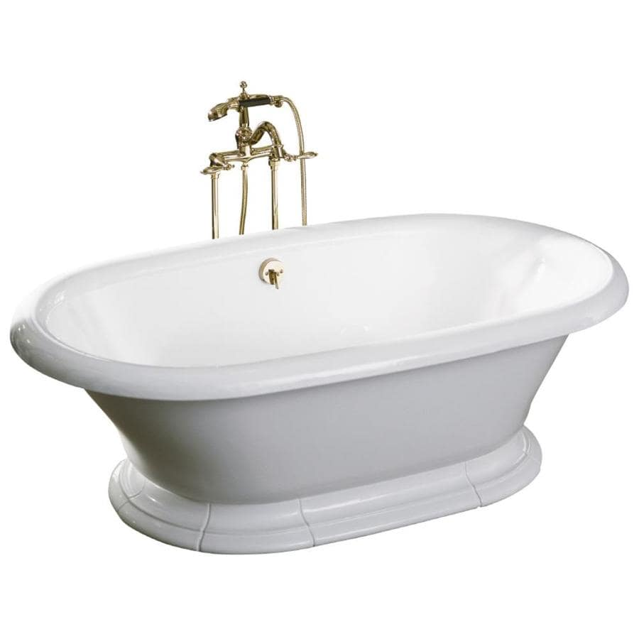 KOHLER Vintage 72-in White Cast Iron Pedestal Bathtub with Back Center Drain