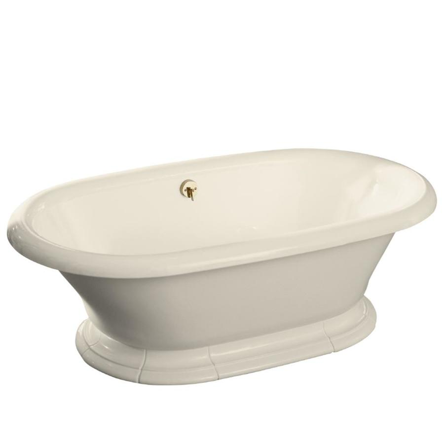 KOHLER Vintage 72 In Almond Cast Iron Pedestal Bathtub With Back Center  Drain