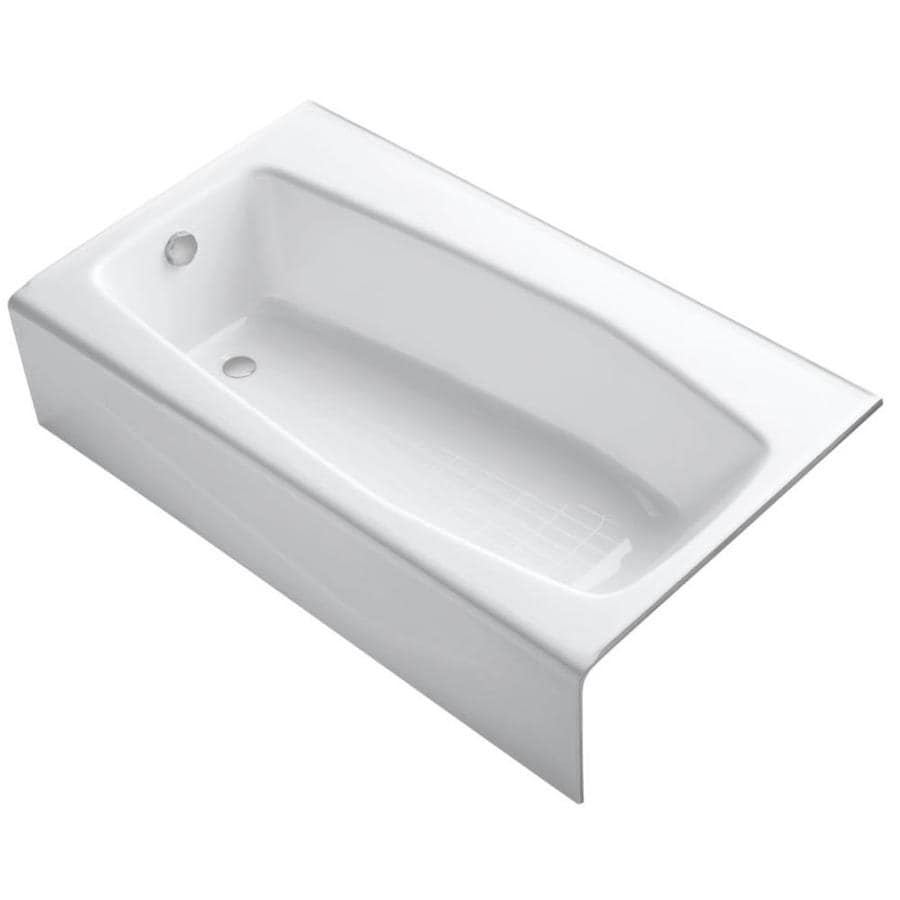 KOHLER Villager White Cast Iron Hourglass In Rectangle Alcove Bathtub with Left-Hand Drain (Common: 34-in x 60-in; Actual: 14-in x 34.25-in x 60-in)