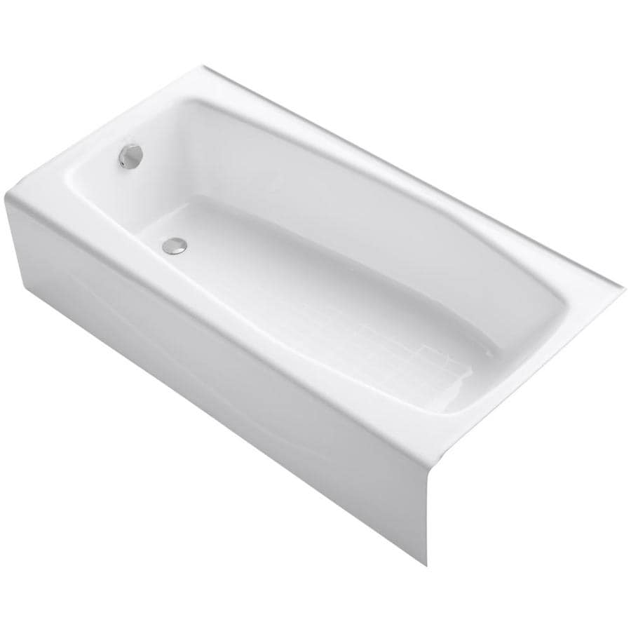 Kohler Villager 60 In White Cast Iron Rectangular Left Hand Drain Alcove Bathtub