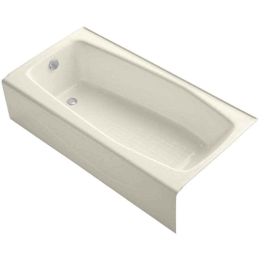 KOHLER Villager Almond Cast Iron Rectangular Skirted Bathtub with Left-Hand Drain (Common: 31-in x 60-in; Actual: 14-in x 30.25-in x 60-in)