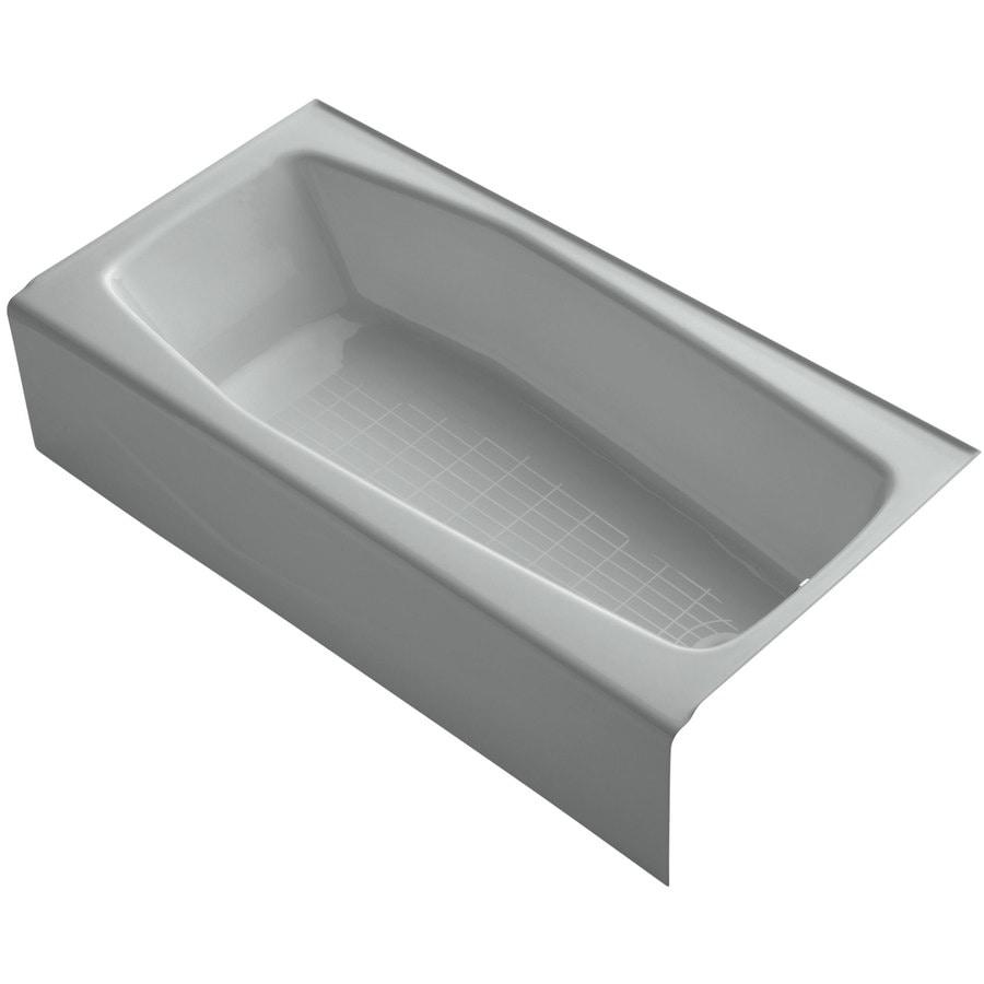 Kohler villager ice grey cast iron rectangular skirted bathtub with right hand drain common