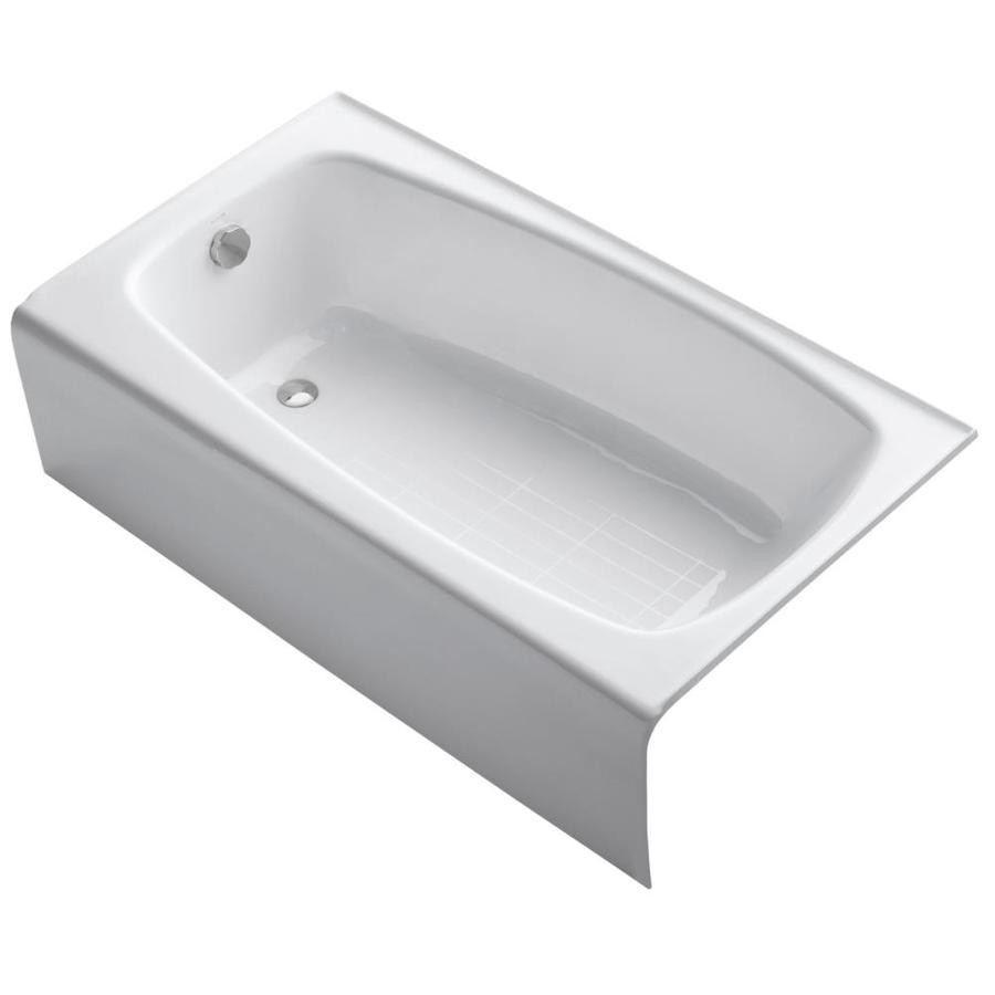 KOHLER Seaforth 54-in White Cast Iron Skirted Bathtub with Left-Hand Drain