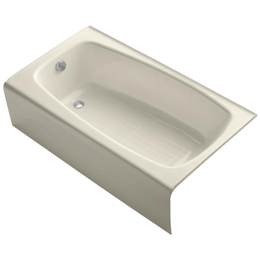 KOHLER Seaforth Almond Cast Iron Rectangular Skirted Bathtub with Left-Hand Drain (Common: 31-in x 54-in; Actual: 14.0000-in x 30.2500-in x 54.0000-in)
