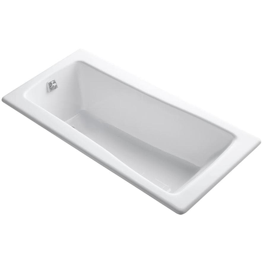 KOHLER Maestro 66-in White Cast Iron Drop-In Bathtub with Reversible Drain