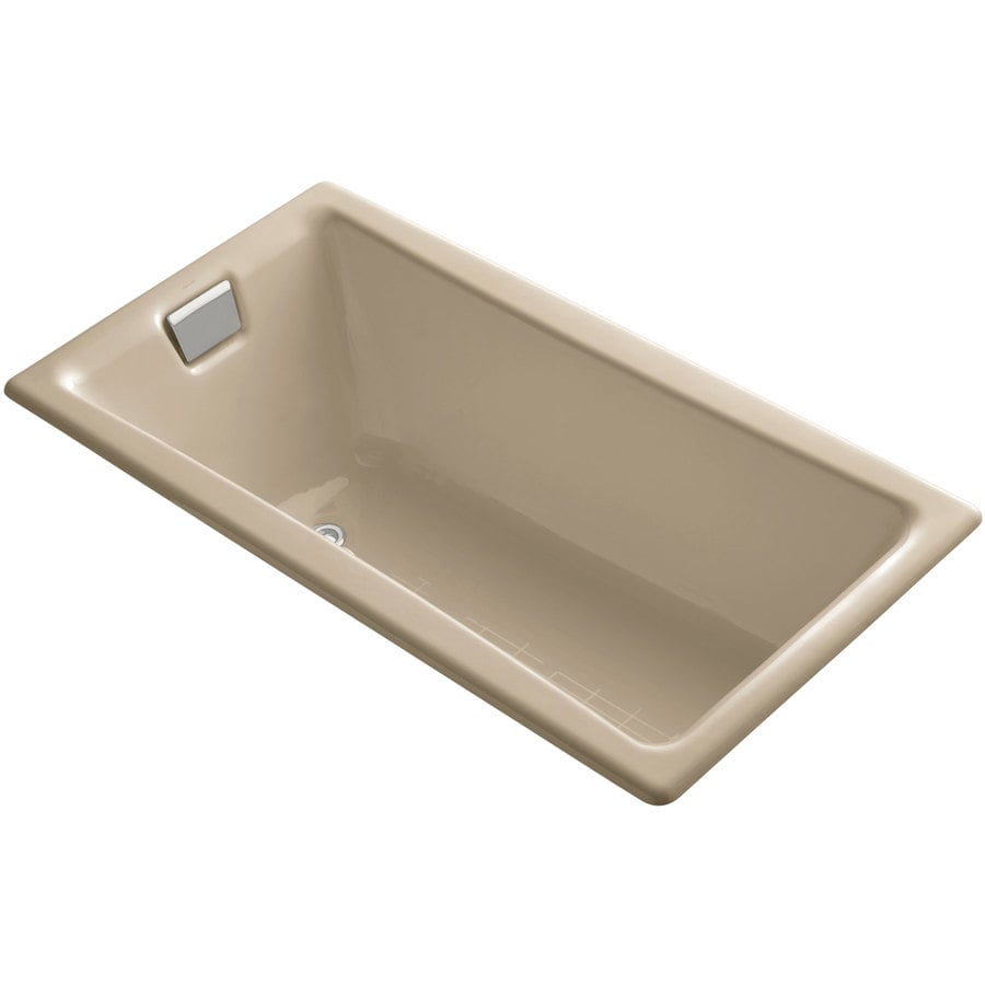 KOHLER Tea-For-Two Mexican Sand Cast Iron Rectangular Drop-in Bathtub with Reversible Drain (Common: 32-in x 60-in; Actual: 18.25-in x 32-in x 60-in)
