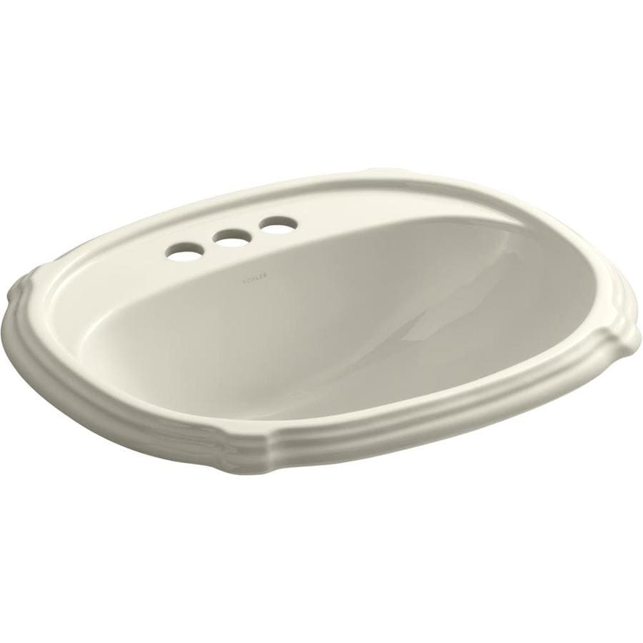 KOHLER Portrait Almond Drop-in Oval Bathroom Sink with Overflow
