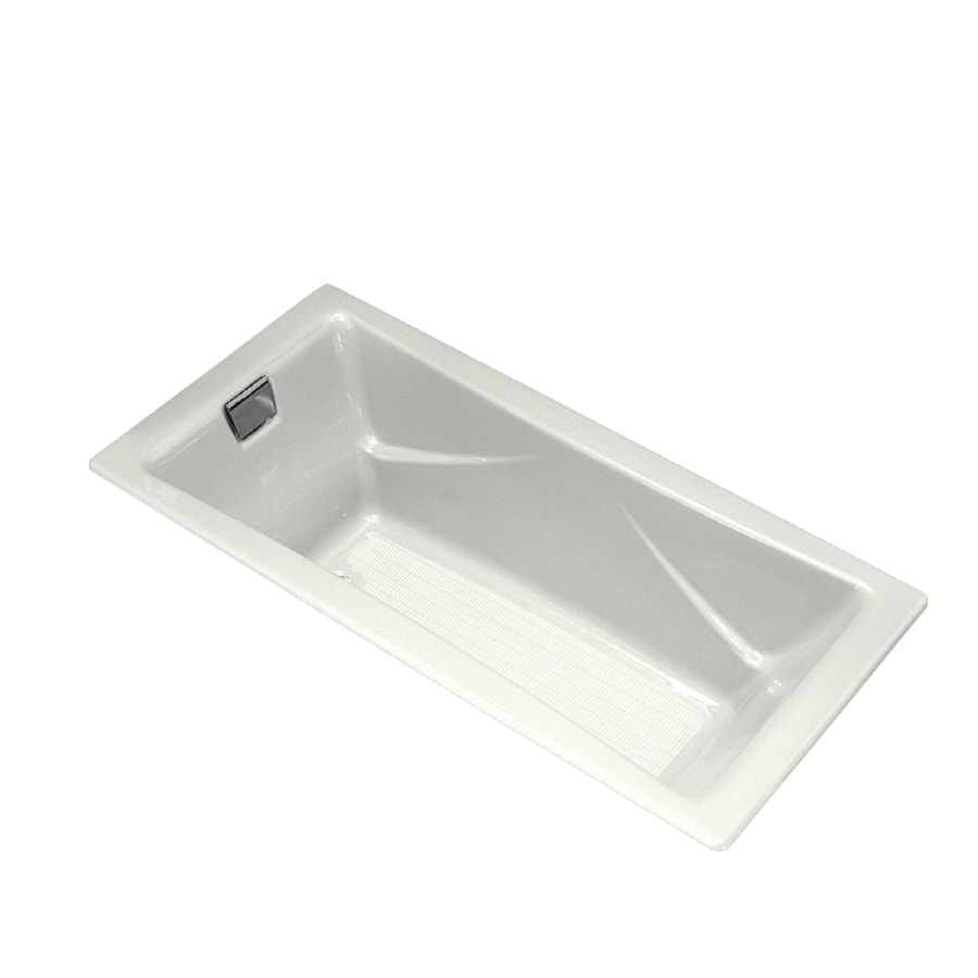 KOHLER Tea-for-Two 71.75-in White Cast Iron Drop-In Bathtub with Reversible Drain